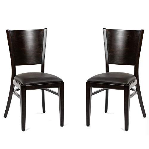 Dublino Holz Esszimmerstühle IC917ST/WENGE | 2er Set | Buche mit Kunstleder Sitzfläche | Stapelstuhl in Gastronomie Qualität