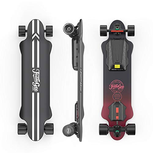 Teamgee H20 Electric Skateboard with Remote Long Boards Skateboard Designed for Teens and Adults, 26PMH Top Speed, Hub Motors 1080W, 30KM Range, 4 Speed Adjustment