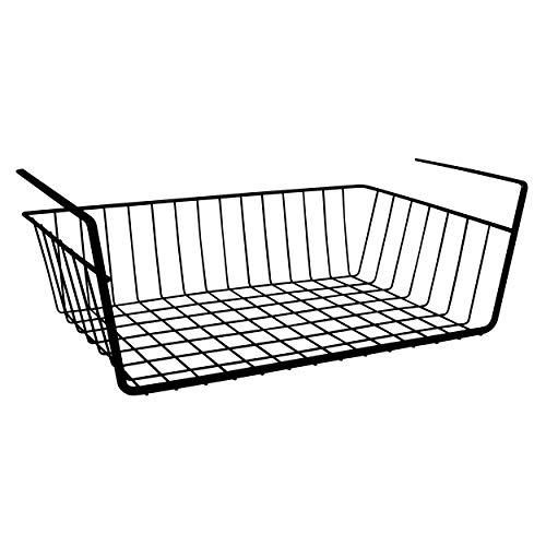 MSV Hängekorb aus Metall - 38,5 x 25,5 x 14 cm - Schwarz - Aufbewahrungs-Korb für Küchenschränke Kleiderschränke Regale Unterbauschrank Unterbau-Regal