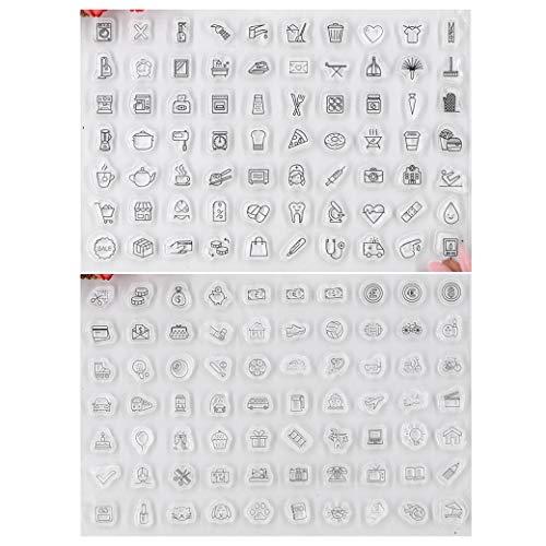 Kwan Crafts Transparente Stempel für Karten, Dekorationen und Bastelarbeiten, 2 Bögen