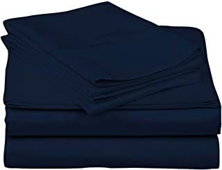 JS Sanders Collection Kooton King 1200 Thread Count Egyptian Cotton Twin XL Sheets, Navy Blue: 4 Piece, 16