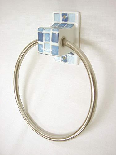 TOALLERO ARO Cubo Pared BAÑO Porcelana Mosaico Azul
