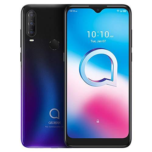 Alcatel 3 2020 (64GB, 4GB RAM) 6.22' HD+, 4000mAh Battery, Finger Print + Face Unlock, GSM Unlocked Global 4G LTE (T-Mobile, AT&T, Straight Talk) International Model 5029E (Chameleon Blue)