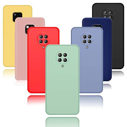 Meeter Funda Xiaomi Poco F2 Pro/Redmi K30 Pro Zoom, 7 Unidades Carcasas Ultra Fina Silicona TPU de Alta Resistencia y Flexibilidad Caso Colores (Negro+Rojo+Azul Oscuro+Rosa+Lavanda+Amarillo+Verde)