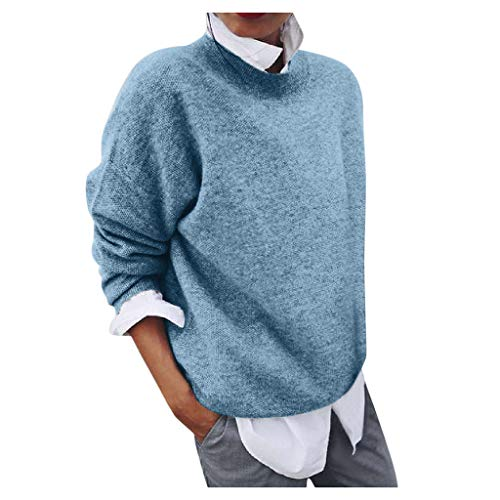 Fenverk 2 in 1 Optik Langarmshirt Damen Langarm Longshirt Casual Rundhals Tunika Top Shirt Lang Pulli Winterpulli Sweater Sweatshirt Winterpullover Elegante Loose Freizeit Pullover(Blau,S)
