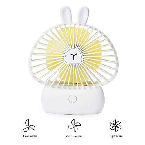 Leuke USB-ventilator, stil, 4 W, draagbaar, koelventilator, 3 snelheden, met 7 kleuren, led, nachtlampje, ventilator voor kinderwagen, ventilator, konijnen, ventilator.