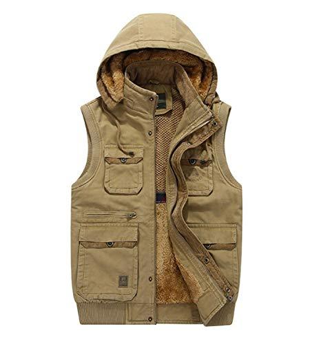 GL SUIT Mens Removable Hat Padded Gilet mit Kapuze Körperwärmer Vest Multi-Tasche Weste Bequeme Fleece Liner...