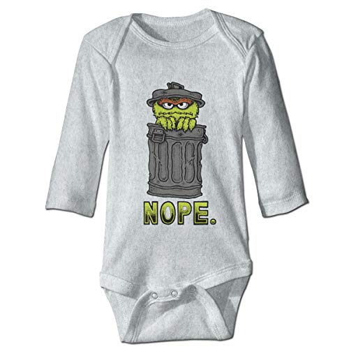 Wensiyer Baby's&Boy's&Girl's Logo of Oscar The Grouch - Nope. 100% Cotton Classic Crew-Neck Long Sleeve Romper Unisex Gray