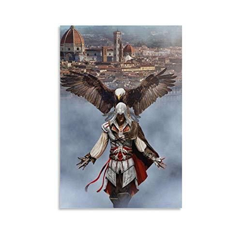 ASDFWQW Altair Ezio Auditore Assassin's Creed Poster mural décoratif moderne pour chambre familiale 60 x 90 cm