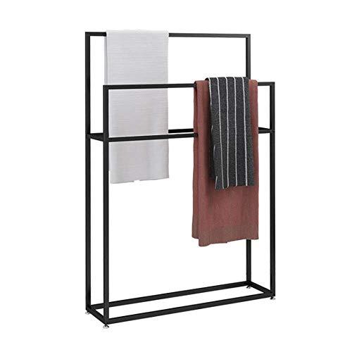 Handtuchhalter Gebogene freistehende Handtuchhalter Kleine Kleidung Butler in Edelstahl Stahlende Badetuchhalter mit 3 Schienen - Schwarz,85×20×110cm(l×w×h)