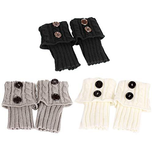 Lurrose 3 pares de calentadores de piernas mujeres calcetines de tejer calentadores de piernas mujer mantener caliente calcetines