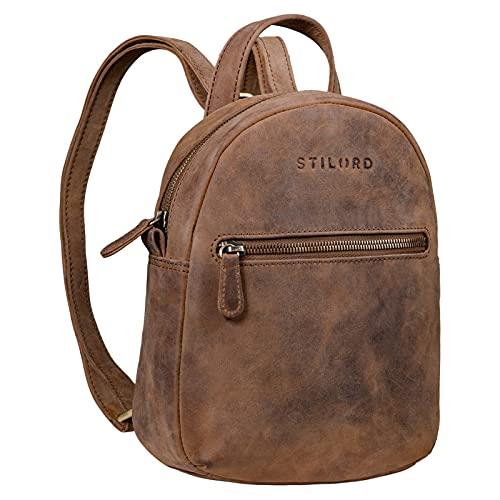 STILORD 'Lola' Mini Daypack Damen Lederrucksack Cityrucksack Kleiner Tagesrucksack Rucksack Tasche für Frauen XS Stadtrucksack aus Echtem Leder, Farbe:mittel - braun
