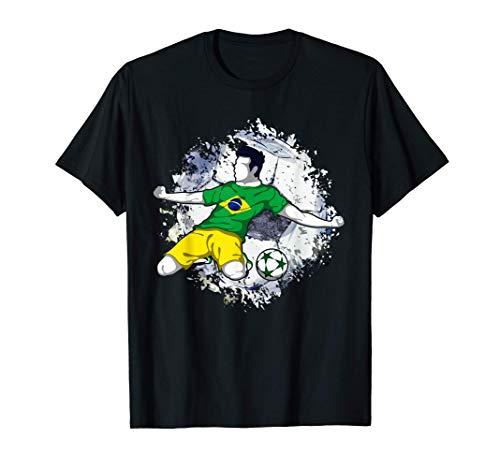 Amante del fútbol de la bandera brasileña del fútbol de Camiseta