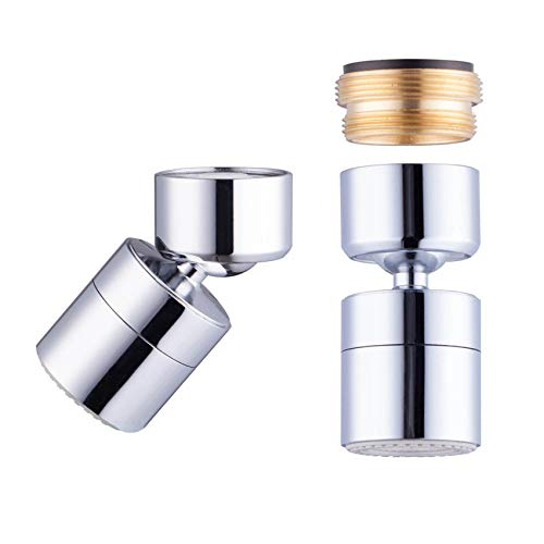 Waternymph 1.8GPM Kitchen Sink Aerator Solid Brass - Big Angle Swivel Faucet Aerator Dual-function 2 Sprayer - Swivel - Polished Chrome