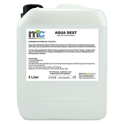 Aqua Dest 5 Liter Kanister destilliertes Wasser, unsteril und mikrofiltriert für medizinische, pharmazeutische Bereiche, technische und chemische Zwecke