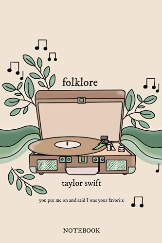 Taylor Swift notebook folklore cardigan / you put me on and said I was your favorite / record player with folklore vinyl: evermore, lover, reputation, ... speak now, fearless, Taylor's Version journal
