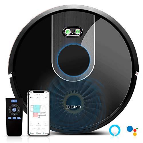 Zigma Robot Aspirador, Navegación Láser, Fregasuelos 4 en 1, Barre, Aspira, Friega y Pasa la Mopa, App Control, Alexa y Google Assistant, para Suelos Duros y Alfombras, Pelo de Mascotas