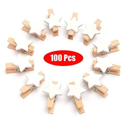 Queta 100 Stück Holzklammern Set Pentagramm Mini Klammern Sternen Wäscheklammer Holz Zierklammer Weihnachten Holzklammern Deko Holzklammern für Fotos Party Hochzeit Weihnachten