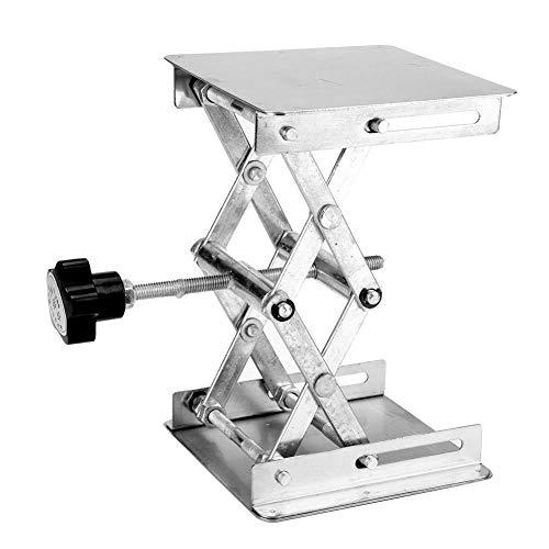 KSTE Laboratorio de acero inoxidable plataforma elevadora de tijera soporte del estante 100 * 100 * 160 mm (Mango Negro)