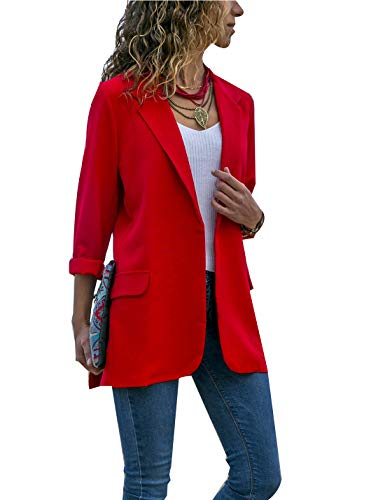 Chaquetas De Punto De Chaqueta De Oficina De Las Mujeres Manga Larga Chaquetas Blázer Outwear Rojo S