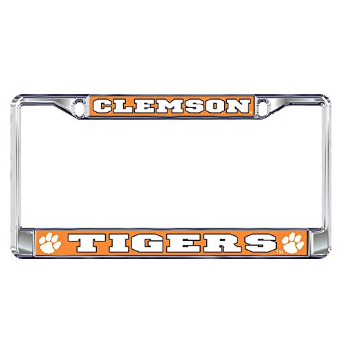 Clemson University Tigers Silver Metal License Plate Frame