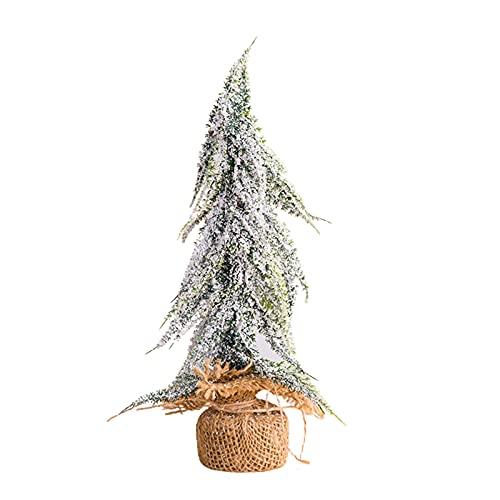TIAVNTD Árbol de Navidad en miniatura, árboles artificiales de escarcha de nieve, mini pino para decoración del hogar de la fiesta de Navidad