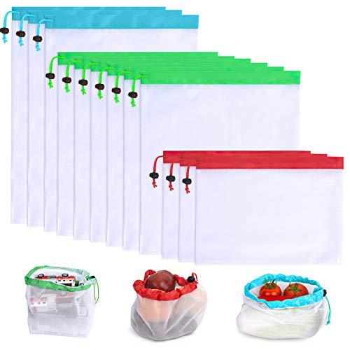 QUANHAO12PCS grüne Gemüsesäcke, Aufbewahrungsbeutel, Umweltschutzbeutel, Einkaufstaschen, wiederverwendbare Obst- und Gemüsesäcke zum Einkaufen und Aufbewahren. (12)