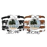 DIYthinker - Pulsera de piel con correa de mano, diseño de árbol de mar, color arena y playa