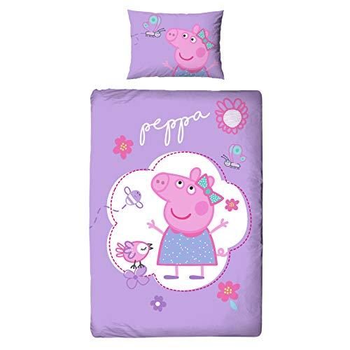 Character World Peppa Wutz Mädchen-Bettwäsche Biber Flanell · Kinderbettwäsche Peppa Pig Butterfly · Wendebettwäsche · Kissenbezug 40x60 + Bettbezug 100x135 cm - Reißverschluss