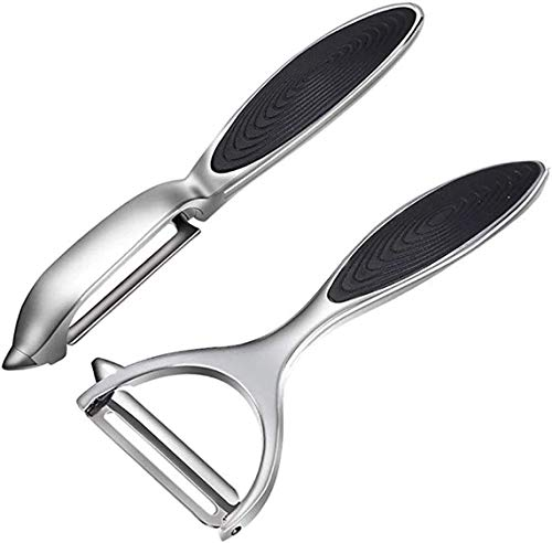 Vegetable, Potato Peelers for Kitchen Fruit Veggie Carrot Peeler Good Grips Swivel Peeler y Shape and I Shape Stainless Steel Potatoes Peeler with Ergonomic Non-Slip Handle & Sharp Blade (2 Pcs)