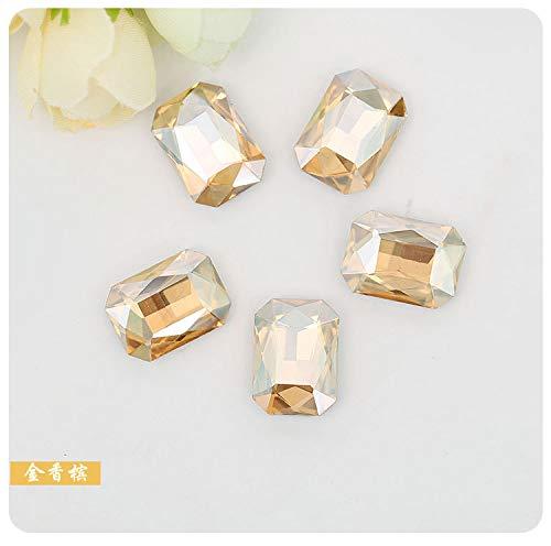 Astonish Caldo! Champagnerfarbe rechteckig Otto Ecken, Strass-Steine aus Kristall, aus Bass, für Schmuckstücke von Sposa 50 pcs: 13 x 18 mm