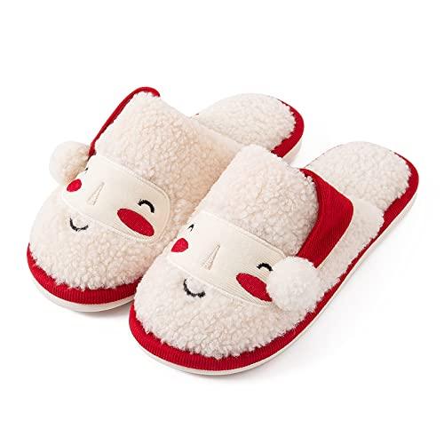 QAZW Zapatillas De Navidad con Cara Sonriente Retro para Mujer, Conjunto Cálido y Cómodo De Felpa Suave, Zapatillas para Pareja, Niña, Niño, Otoño e Invierno,White-5.5-6.5