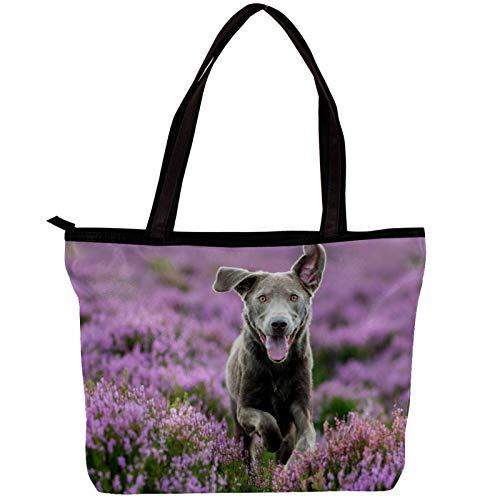 Woman Laptop Tote Bag USB Teacher Bag Large Work Bag Purse Fits Tablet Book Notebook Lavender Dog 11.8x4.1x15.4in