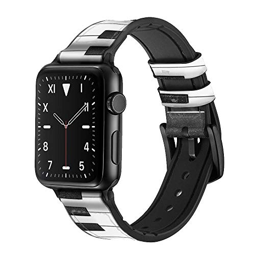 CA0225 One Octave Piano Leather & Silicone Smart Watch Band Strap for Apple Watch iWatch Size 38mm/40mm