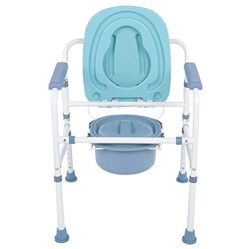Ejoyous Hygienischer Toilettenstuhl, gepolstertere Sitzfläche, Toilettenstuhl Bequemer Stuhl mit Deckel für Senioren Rutschfester WC-Stuhl Robuste Stahlkonstruktion