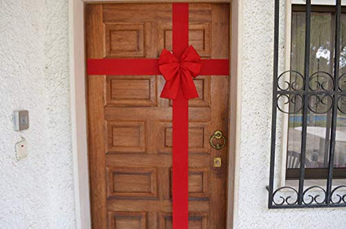 Rote Fertigschleife Haustür, Hauseinweihung, Laden, Dekoschleife Hauseingang, Eröffnung, Haus und Wohnungsübergabe