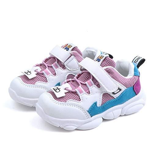 Chaussures de sport pour enfants printemps et automne garçons et filles couleur correspondant cuir maille respirable non slip chaussures à fond plat extérieur chaussures de marche légères chaussures