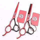 Hairdressing Scissors Left Handed Series Barber Scissors Professional Salon Stylist Shears Sharp and Precise Cut for Left-handed Hairdresser (RED)