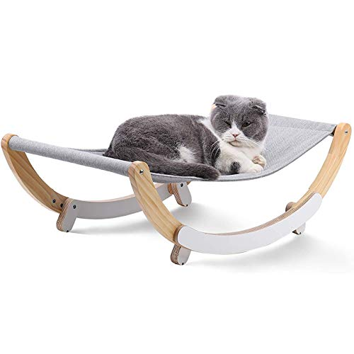 ZLASS Cat Hammock, 2 in 1 Cradle and Hammock, with Supporting Legs and Linen, Wooden Swing Chair for Small and Medium Cats and Dogs, Easy to Assemble, 59cm/23in