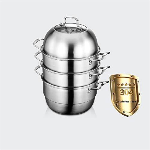 Utensilios de cocina al vapor 304 Steamer de acero inoxidable/olla de sopa Hogar de 4 capas con vapor 28 cm / 30 cm / 32 cm / 34 cm Espesado Adecuado para estufa de gas/cocina de inducción Charola