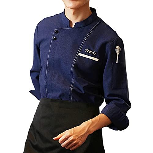 GAOSHENGWUJINGD Chef Coat Men Women Long Sleeve Man Western Restaurant Chef Jacket, Hotel Working Wear Restaurant Work Clothes Tooling Fast Food Chef Uniform (Color : Blue, Size : E(XXL))