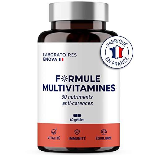 FORMULE MULTIVITAMINES et Minéraux 30 Nutriments | Vitamine A B C D E K, Quercetine, Magnesium, Zinc, Coenzyme Q10, Selenium | Complement Alimentaire Anti-Carences | Fabriqué en France | 60 gélules