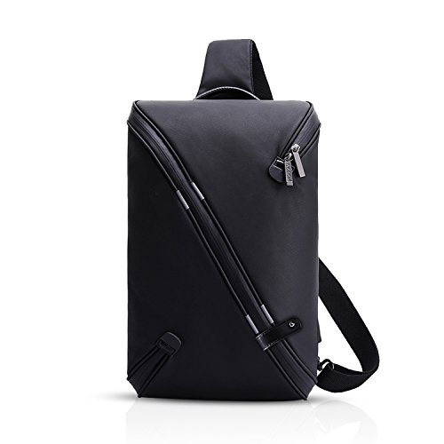 FANDARE Mode Sling Bag Umhängetasche Messenger Bag Hiking Bag Crossbody Bag Rucksack Wasserdicht Polyester Schwarz