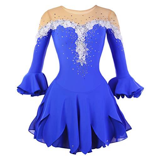 YunNR Hecho a Mano Ropa de Patinaje sobre Ruedas para Niñas, Azul Real Princesa Vestido de la Competencia de Patinaje Artístico Traje Profesional de Patinaje sobre Hielo Manga Larga