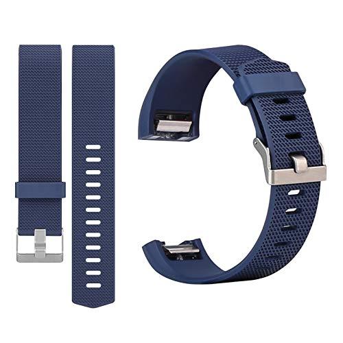 32nd Cinturino con Cinturino in TPU di Ricambio per Fitbit Charge 2 con Fibbia in Alluminio - Taglia Unisex: Piccolo (5.5' - 6.9') - Blu
