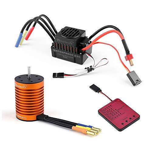 Kesbin Waterproof 4370KV Brushless Motor Sensorless 3.175mm with 60A ESC Brushless Speed Controller & Program Card Combo Set Upgrade Power System for 1/10 RC Car Boat(Motor+ESC+Program Card)
