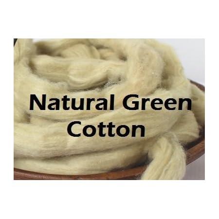 2oz Natural Green Cotton Sliver Combed Top Vegan Fiber Roving Undyed Fibre for Spinning Fiber Bast Blending Dyeing