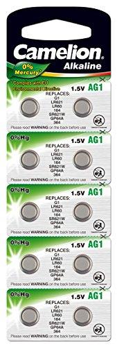 Camelion Alkaline Button Cells, AG1 / G1 / LR621 / LR60 / 164 / SR621W / GP64A / 364, 1.5V - 10 pieces by Camelion