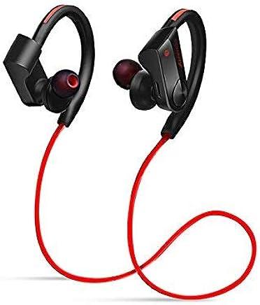 Amendo ブルートゥース イヤホン Hi-Fi高音質 重低音 Bluetooth イヤホン 12時間音楽再生 人間工学設計 ハンズフリー通話 日本語説明書付き IPX6防水 iPhone/Android適用 Siri対応 (レッド)