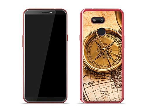 etuo Handyhülle für HTC Desire 12s - Hülle Foto Hülle - Kompass - Hülle Schutzhülle Etui Hülle Cover Tasche für Handy